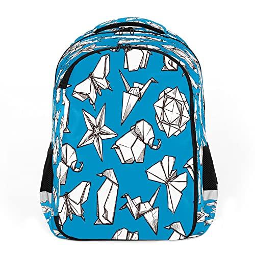 Mochila para niños unisex de dibujos animados para estudiantes escolares impermeable Preppy Pack Bolsa Origami Animal Flor de papel figuras plegadas
