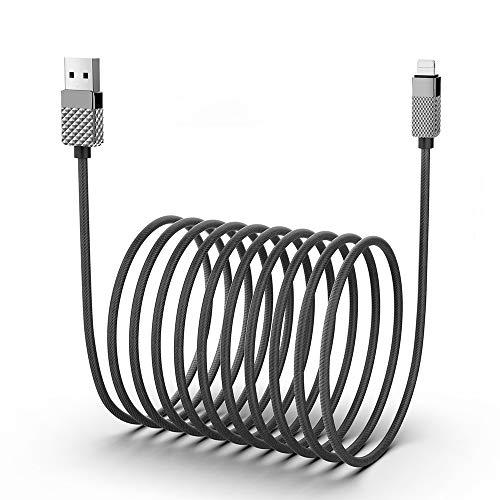 5MT/16FT Cable Phone, Cable Cargador Phone Nylon Trenzado Cable USB de Carga 2.4A Rápida Compatible con Phone 12/11 Pro/11 Pro Max/Xr/Xs/X/8/8 Plus/7/6s/6Plus/6/Pad/Pod y más