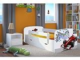 CARELLIA Cama Infantil F1 70 cm x 140 cm con Barrera de Seguridad, somier +...