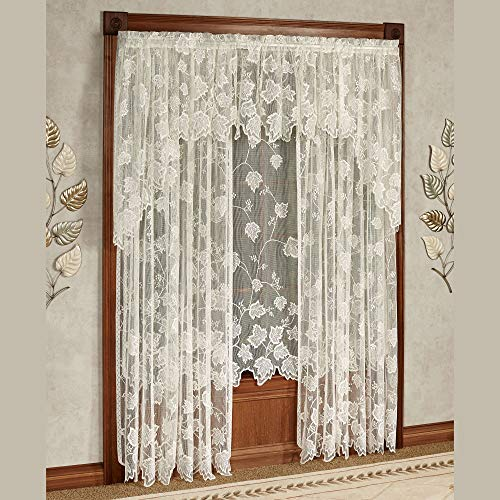 Touch of Class Dancing Leaves Lace Curtain Panel Ivory