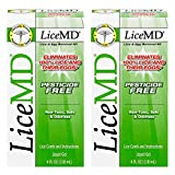 LiceMD Head Lice Treatment- Liquid Gel and Lice Comb Eliminates 100% of Lice & Their Eggs, Pesticide Free & Non-Toxic Hair Conditioner, 4 oz. (Pack of 2)