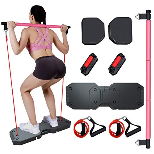 OTEKSPORT Foldable Push Up Stand System with Push-up Boards, Pilates, Ab Wheels, Resistance Bands, Portable Home Gym, Built Muscle and Burning Fat, Workout Equipment for Men and Women Exercise
