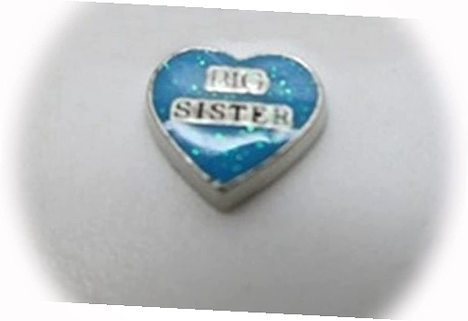 New Blue Big Sister Heart 40% OFF Cheap Sale Silver for Challenge the lowest price Memory Charm 10mm Floating