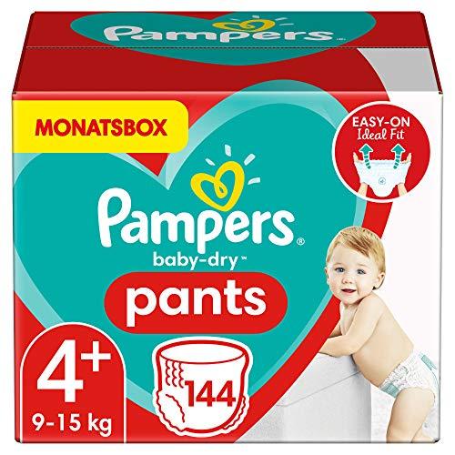 Pampers Größe 4+ Baby Dry Baby Windeln Pants, 144 Stück, MONATSBOX, Für Atmungsaktive Trockenheit (9-15kg)