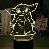 giyiohok Lámpara de ilusión 3D Luz de noche LED Star Wars Baby Yoda Meme...