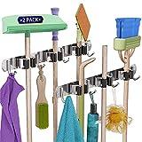 Wandhalterung für Mop- & Besen, Wandhalterung, Besen-Organizer, Wandmontage, Edelstahl, Aufbewahrungshaken, robuster Werkzeugaufhänger für Zuhause, Küche, Garten, Garage, Wäsche (3 Regale, 4 Haken)