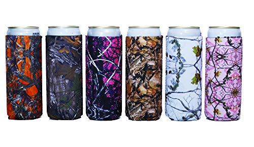 Baxendale\'s Slim Can Coolie Sleeve Cute Camo Design 6 Pack Tall Skinny Neopren Dosen-Kühler Isolator - Perfekt für 340 ml Getränke wie White Claw, Truly, Red Bull, Spiked Seltzer, Michelob Ultra