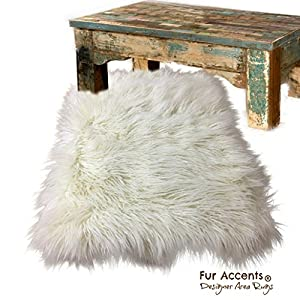 White Shag Area Rug – Faux Sheepskin – 100% Animal Friendly Faux Fur – Irregular Edge Rectangle – Fur Accents USA