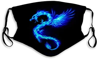 Blue Fire Chinese Dragon with Wings Symbol Wisdom and