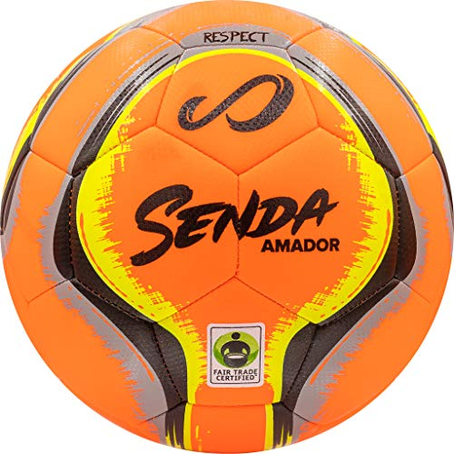 SENDA Amador Training Soccer Ball, Fair Trade Certified, Orange/Black, Size 5 (Ages 13 & Up)