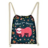 WELLFLYHOM Cute Red Sloth Floral Pattern String Backpack Girls School Travel Shopping Drawstring Bag for Kids Birthday Party Favors, Large Yoga Sport Dance Gym Cinch Sack Lightweight