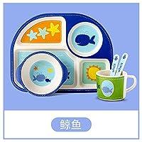 HTLLT 竹繊維子供用食器セットベビーディナープレートベビーコンパートメント漫画丼5点セット,赤ちゃんクジラ,5頭