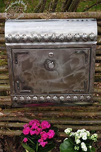 BTV Ölbaum Briefkasten Stahl-Optik, mit Zeitungsfach, SI/NA edel Farbe-Silber Natur mit Farbe-silberfarbenen Schrauben Zeitungen Vintage