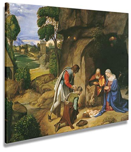 digitalpix Artenòr Quadro Giorgione Adorazione dei Pastori (Natività Allendale) 1504 - Stampa su Tela Canvas Intelaiata - 95x76 cm