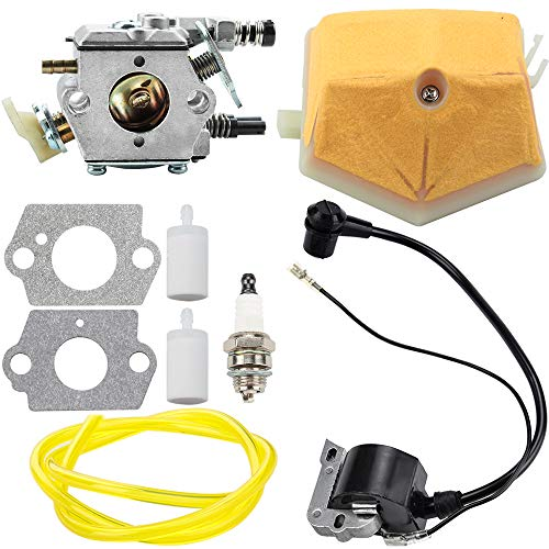 Carburetor Ignition Coil for Husqvarna 51 55 Chainsaw WT-170-1 WT-170 503281504 with Air Filter Fuel Line Spark Plug Parts Kit Carb Engine