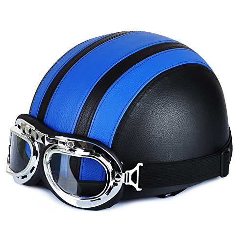 Annong Casco da Moto, bicicletta-Occhiali stile Vintage retrò, Harley pelle Casco metà Helmets 54/60 cm