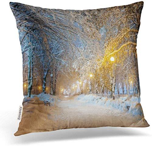 Dekokissen Print Home Decor Design Square Set Kissen blau Szene Winter Stadt Park Blizzard Nacht Schnee Schlafzimmer Sofa Kissen