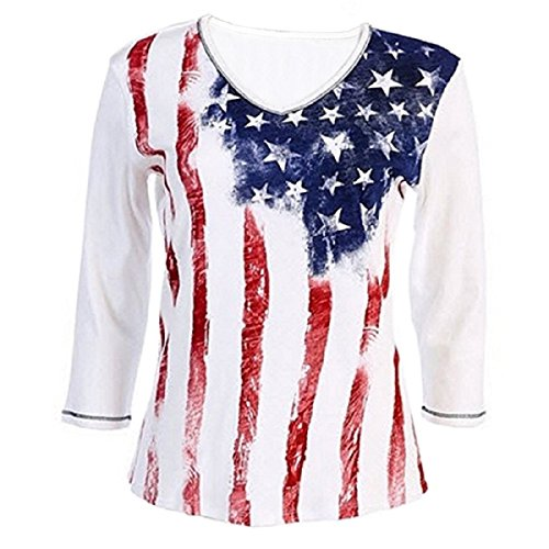 American Summer Ladies Patriotic Shirt with Stars and Stripes (2X, 15630)