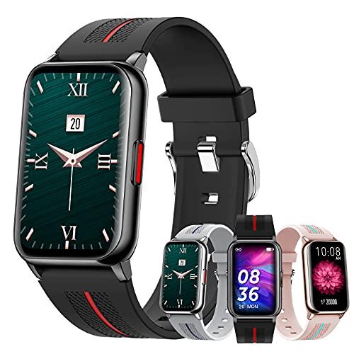 HQPCAHL Reloj Inteligente, Smartwatch Pulsómetros IP68 A Prueba De Agua Reloj Digital con Step Calories Monitor De Sueño, Reloj De Fitness con iOS Android,Negro