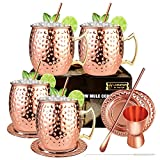 LIVEHITOP Bicchieri Moscow Mule Rame, 530 ML Tazza Moscow Mule con 1 Jigger, 4 Sottobicchieri in Rame, 4 Cannucce, 1 Cucchiaio Bar per Bere, Festa, Bar, Regalo