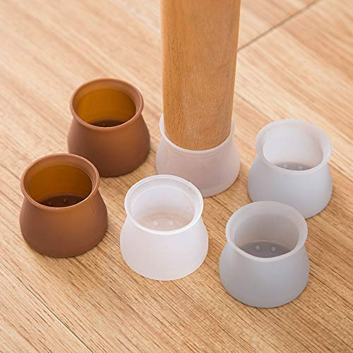 HPZHANG Felt Table and Chair Protective Cover, Chair Leg Caps, Silicone Chair Leg Pads, Furniture Silicon Protection Cover, Floor Protectors for Furniture Transparent Round 24Pcs
