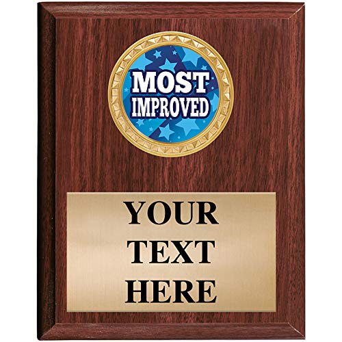 Crown Awards Most Improved Plaques - 5x7 Customized Sports Recognition Trophy Plaque Prime