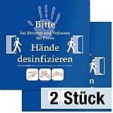 PRAXIS-Schild Bitte Hände desinfizieren | 2er Pack | Hände-Desinfektion | Hand Hygiene | 35x35cm...