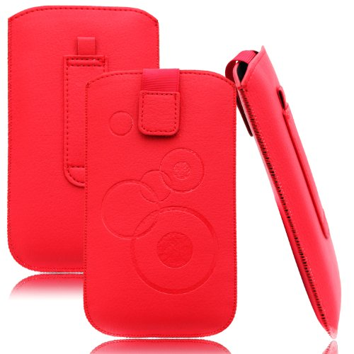 Slim Hülle Rot für HTC Desire 628 Tasche Ledertasche Handytasche Leder Kunstleder Schutz Hülle Schutzhülle Gürteltasche Schlaufe Gürtelschlaufe Seitentasche Etui Holster