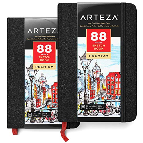 ARTEZA 3.5x5.5' Mini Sketch Book, Pack of 2 Pocket Notebooks, 88 Pages per Pad, 118lb/175gsm, Hardcover Journals with Bookmark Ribbon, Inner Pocket, and Elastic Strap, for a Variety of Dry Media