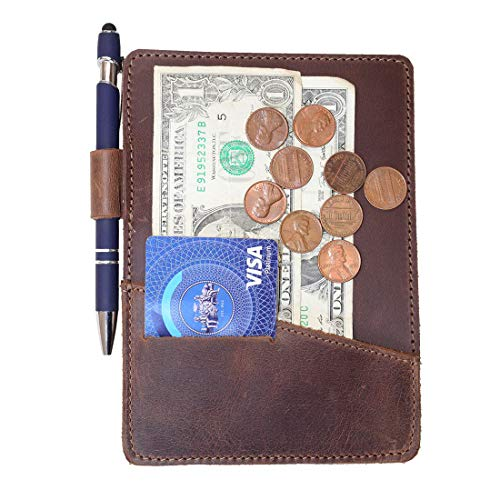 Hide & Drink, Thick Leather Check Presenter With Card Slot/Restaurant & Cafe Accessories/Bill Holder/Waiter/Waitress, Handmade :: Bourbon Brown