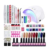 Saint-Acior Gel Nail Polish Starter Kit-36W LED UV Nail Dryer Curing Lamp,10 Colors Gel and Base Top Coat Manicure Nail Tools
