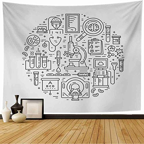 Starolac Tapestry Wall Hanging Clinic Unique Medical MRI Scan Microscope Healthcare Line Up Oncology Research Cancer Diagnostic Funny Tapestry for Living Room Bedroom 80x60 Inch