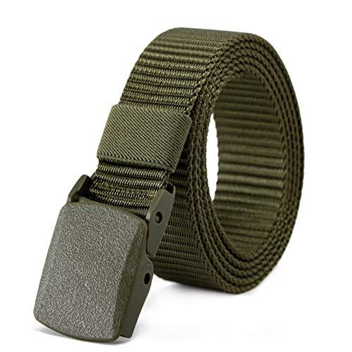 Crazyfly Cinturón de nailon, no metálico, hebilla no magnética, sin agujeros, universal, unisex, para hombres y mujeres.