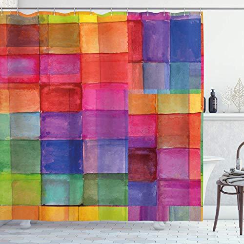 N\A Abstrakter Duschvorhang, regenbogenfarbenes geometrisches Quadrat mit verschwommenen trüben Effekten Aquarell-Design, Stoff Stoff Badezimmer Dekor Set mit Haken, Mehrfarbig