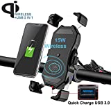 iMESTOU Waterproof Motorcycle Wireless 15W Qi/USB Quick Charger 3.0 Phone Holder 2 in 1 Mount on 22-32mm Handlebar or Rear-View Mirror Pole Fast Charging for 3.5-6.5 inch Cellphones