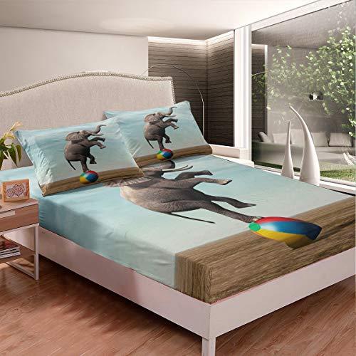 Juego de sábanas de elefante, estilo bohemio, exótico, para niños, niñas, adolescentes, decoración 3D, sábana bajera ajustable con diseño de elefante étnico, 2 unidades, tamaño individual