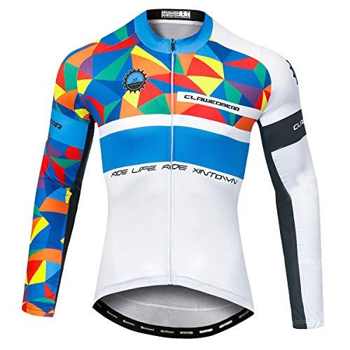 Panegy Herren Langarm Sportbekleidung Atmungsaktive Radtrikot Dünn Gemustert Trikot Schnelltrocknend mit Reißverschluss für Radsport Farbe Weiß Blau Größe 3XL