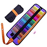 50 Coloured Pencils Set, Art Colouring Pencils with Black Roll-Up Canvas Case
