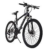 [US in Stock] MTB Moutain Bike, Junior Aluminum Full Bike, Stone Mountain Bike 26 inch 21-Speed Bicycle, Mens/Womens Hybrid Bike Aluminum Full Suspension Road Bike, Fast Delivery (Black)