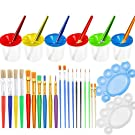 PAXCOO 28 Pcs No Spill Paint Cups Set with Lids and Paint Brushes