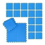 Relaxdays Suelo Goma EVA, Alfombra Puzzle, Esterilla Fitness, Tatami Gimnasio, Set de 24 Piezas, 2.1 m², 30 x 30 cm, Azul