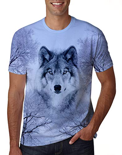 Uideazone Men Women Printed Wolf Short Sleeve T-Shirt Cool Graphic Tee Shirt Top,Wolf 1,X-Large
