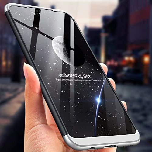 MISSDU kompatibel mit Premium Hart PC 360 Grad Hülle Huawei Nova 3i/ P Smart+ Hülle + Panzerglas,3 in1 Handytasche Handyhülle Schutzhülle Cover - Blau - 6