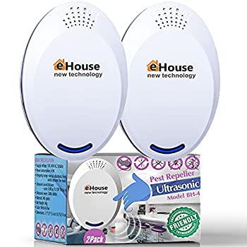BH-4 2Pack - Ultrasonic Electronic Repellent - Best Plug in - Get Rid of - Rodents Squirrels Mice Rats Bats Insects - Roaches Spiders Fleas Bed Bugs Flies Ants Mosquitos!