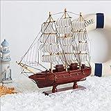 LVSSY-Segeln Großsegler Boot Holzmodell Craft Decor Segelboot Modell Massivholz Holz Handgefertigt Mittelmeer Ornament Display Simulation Holzboot -