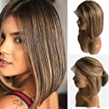 Short Ombre Bob Wig Lace Front Medium Brown Roots 13x4 Swiss Middle Part Bleached Knots with Baby Hair Silky Straight Glueless 10 Inch Balayage #4 Fading to #27 Strawberry Blonde Colored Bob for Women