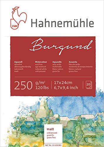Hahnemühle Aquarellkarton Burgund, matt, 250 g/m², 17 x 24 cm, 20 Blatt