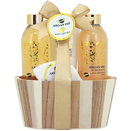 Coffret cadeau beauté pour femme incluant un fleur de bain effervescente - Pot de bain en bois - Collection Luxury Argan Oil - Huile d'Argan