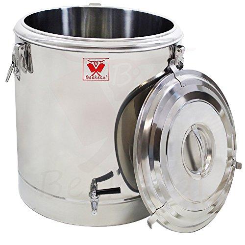 Beeketal 'BTE-60' Transport Thermobehälter 54 L mit Ablaufhahn für Speisen und Getränke, Profi Gastro Speisentransportbehälter aus Edelstahl mit Tragegriffen, Deckel mit Gummiring und Spannverschluss