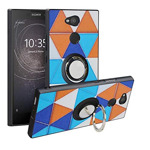 Alapmk Kompatibel mit Sony Xperia L2 Hülle, Pattern Design [Kratzfest] TPU Schutzhülle Hülle mit Metallfingerringständer [Magnetic Car Mount], Stoßfest Handyhülle Cover für Xperia L2,Triangle